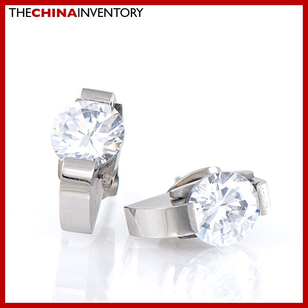 7MM STAINLESS STEEL ROUND CZ STUD EARRINGs E1703