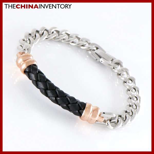 """8 3/4"""""""" STAINLESS STEEL CHAIN LEATHER BRACELET B1201"""