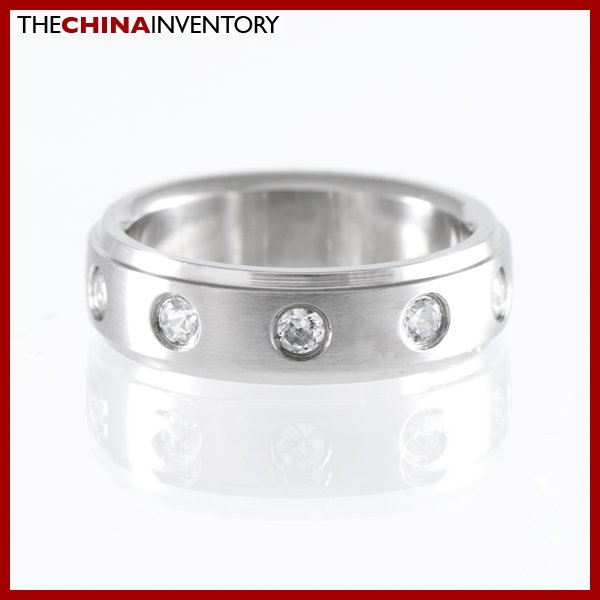 6MM SIZE 8 STAINLESS STEEL CZ WEDDING BAND RING R1215
