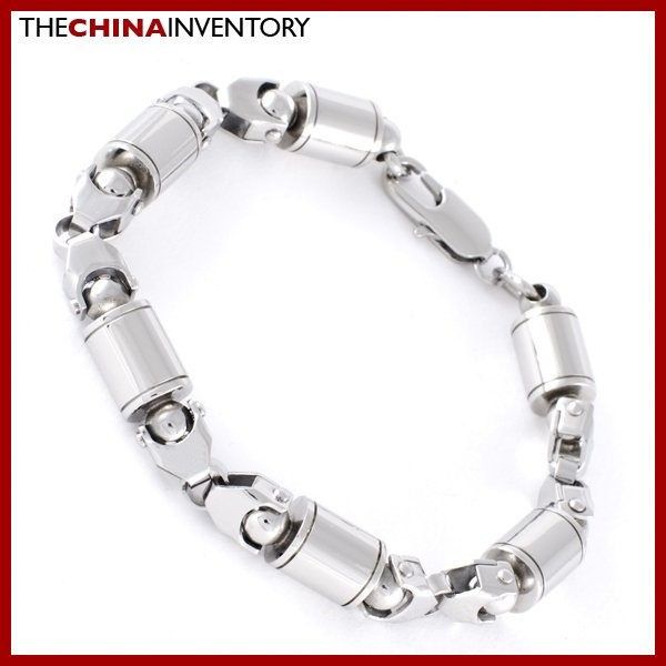"8 1/2"""" STAINLESS STEEL CYLINDRICAL LINK BRACELET B0704"