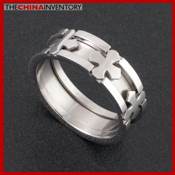 8MM SIZE 9 TWO IN ONE STAINLESS STEEL CROSS RINGS R0404
