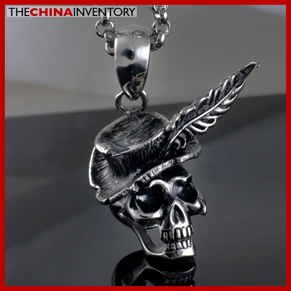 GUY'S STAINLESS STEEL SKULL FEATHER HAT NECKLACE P2101