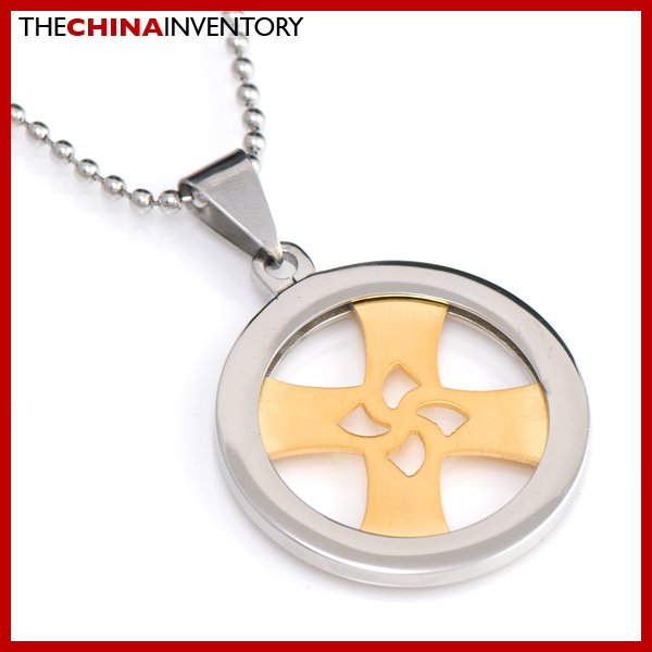 STAINLESS STEEL RING PENDANT WITH ROTATE CROSS P2206
