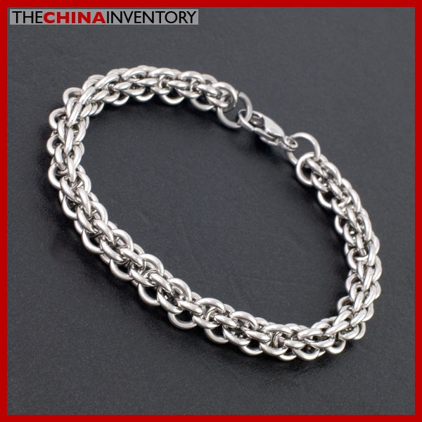 "8MM 9"""" STAINLESS STEEL DOUBLE RING LINK BRACELET B1809"