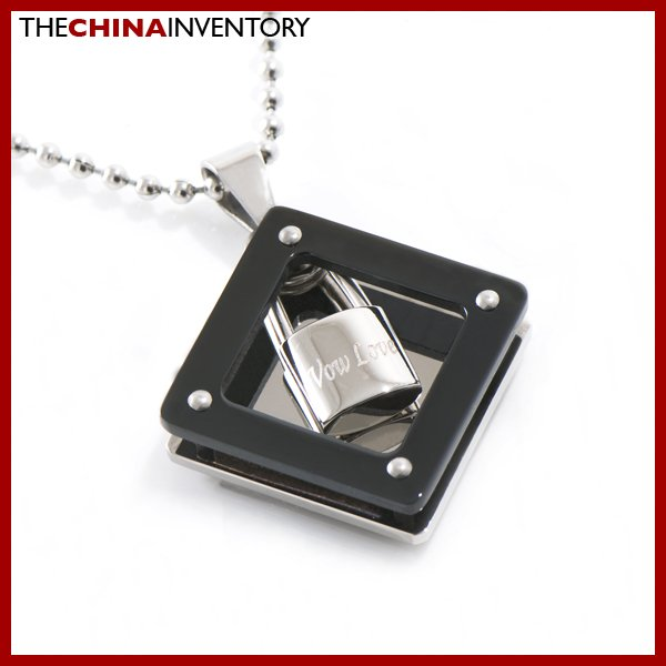 NEW STAINLESS STEEL TWO TONE LOCK PENDANT P1309A