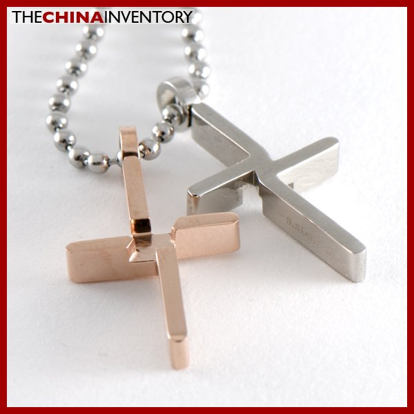 STAINLESS STEEL ENTWINED CROSS PENDANT NECKLACE P0329