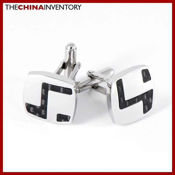 STAINLESS STEEL BLACK CARBON FIBER CUFFLINKS C0901