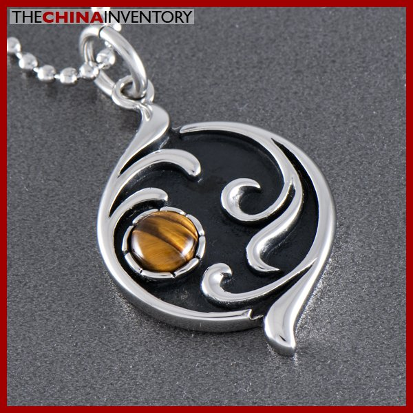 STAINLESS STEEL TIGERS EYE PENDANT NECKLACE P0344
