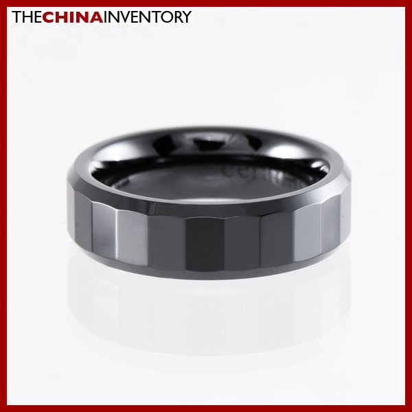 6MM SIZE 6 BLACK CERAMIC FACETED BAND RING R1405