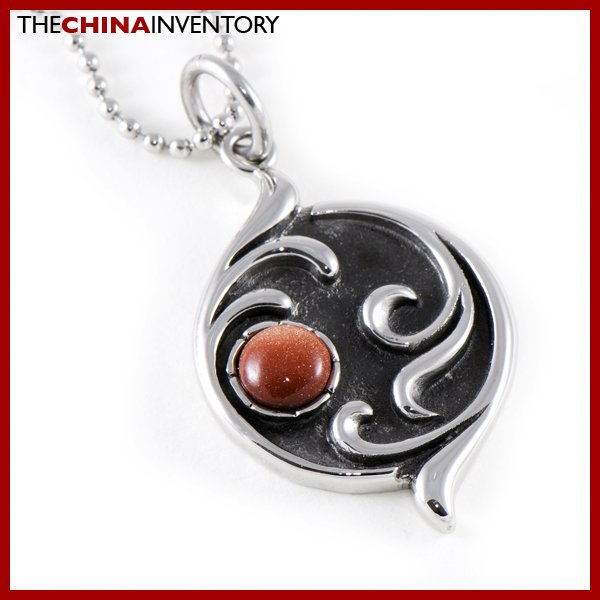 STAINLESS STEEL SOLAR SUN AGATE PENDANT NECKLACE P0344B