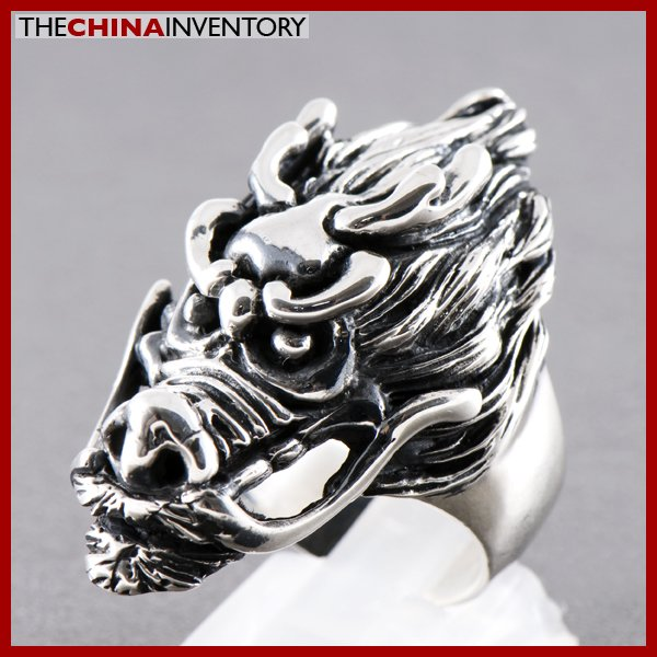 SIZE 8 925 STERLING SILVER FIRE DRAGON RING SIL0813