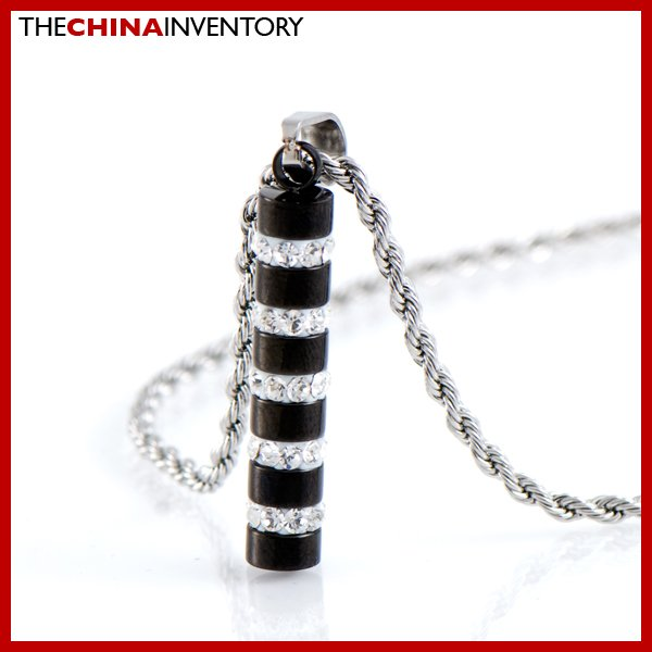 STAINLESS STEEL BLACK TUBE CYLINDER CZ PENDANT P1710