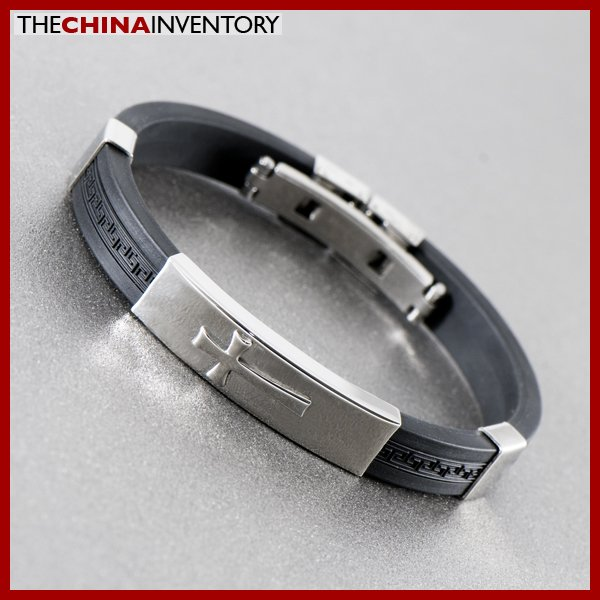 STAINLESS STEEL BLACK RUBBER CUFF BRACELET B1131