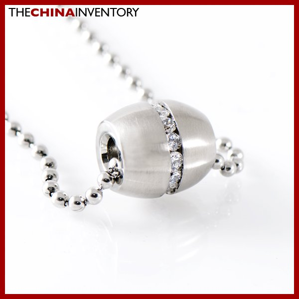 STAINLESS STEEL CZ AFRICAN DRUM PENDANT NECKLACE P0337D