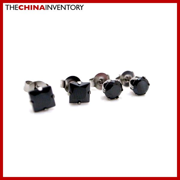 2 PAIRS STAINLESS STEEL BLACK CZ STUD EARRINGS E4017F