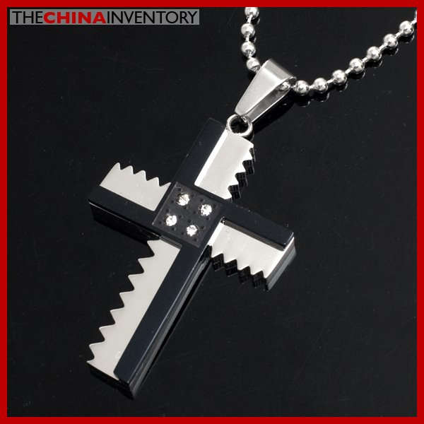 MENS STAINLESS STEEL ZIGZAG CZ CROSS PENDANT P3904