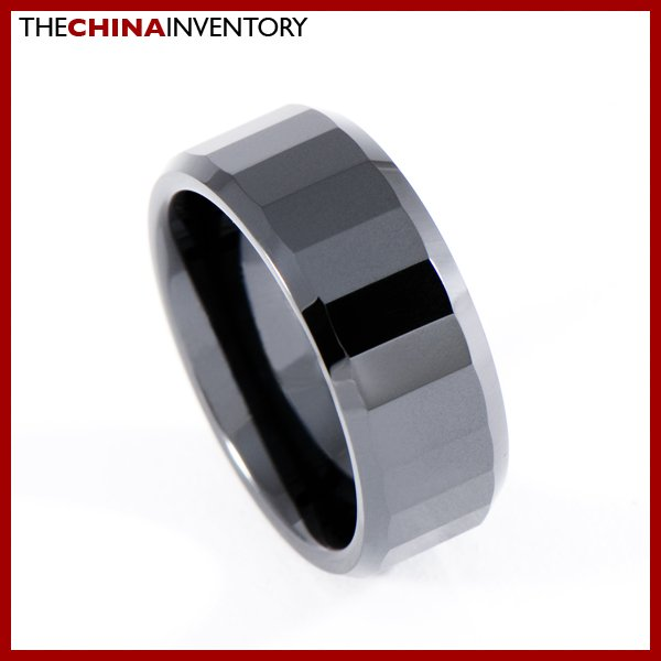 8MM SIZE 9.5 BLACK CERAMIC FACETED FLAT BAND RING R0906