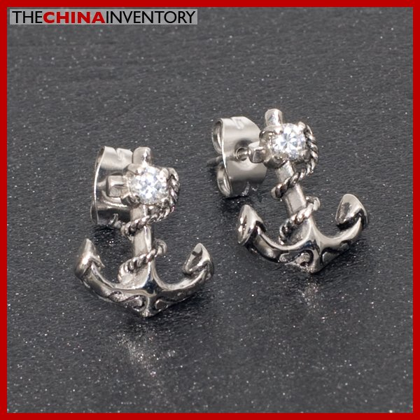 STAINLESS STEEL CZ STUD EARRINGS ANCHOR STYLE E4005