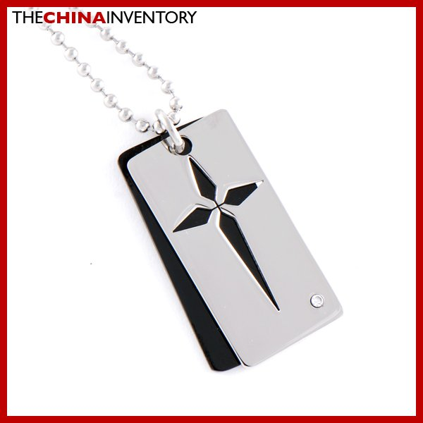 STAINLESS STEEL CROSS PATTERN DOG TAG PENDANT P0310