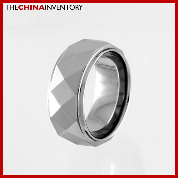 8MM SIZE 5 FACETED TUNGSTEN CARBIDE BAND RING R0914