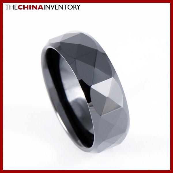 8MM SIZE 4 BLACK CERAMIC WEDDING BAND RING R0905