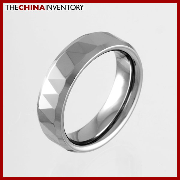 6MM SIZE 7.5 FACETED TUNGSTEN CARBIDE BAND RING R0920