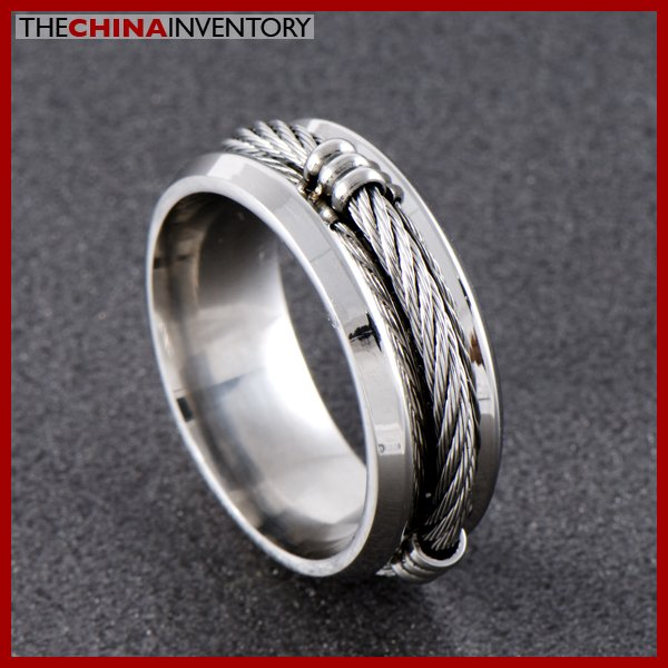 6MM SIZE 5  STAINLESS STEEL CABLE FILIGREE RING R0703A