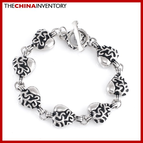"8.5"""" STAINLESS STEEL ARABESQUE HEART BRACELET B1907"