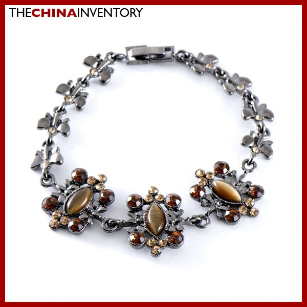 LADIES SILVER TONE CRYSTAL CAT EYE STONE BRACELET B0348