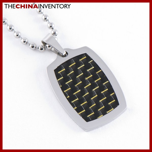 STAINLESS STEEL GOLD CARBON FIBER TAG PENDANT P0727A