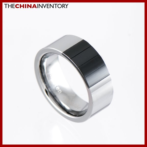 8MM SIZE 8 TUNGSTEN CARBIDE CERAMIC BAND RING R1003B
