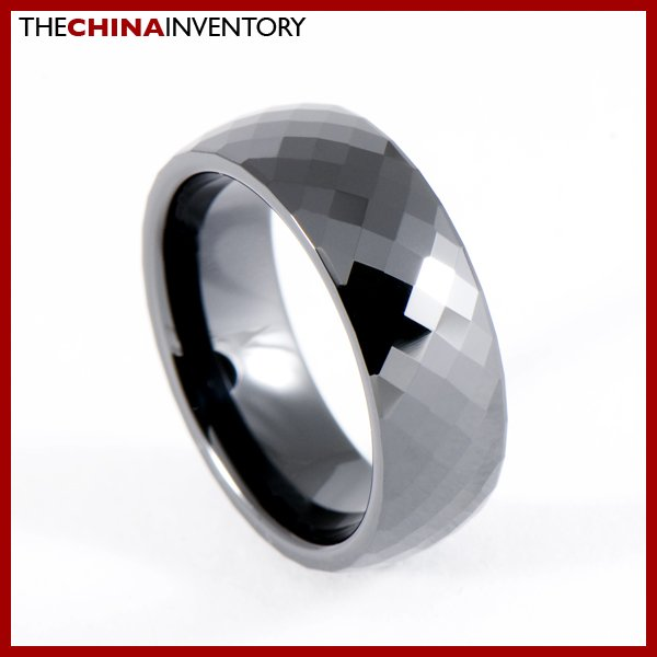 SIZE 7.5 BLACK CERAMIC FACETED WEDDING BAND RING R0904
