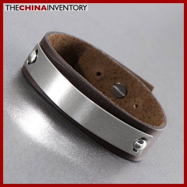 STAINLESS STEEL BROWN LEATHER BANGLE BRACELET B1108