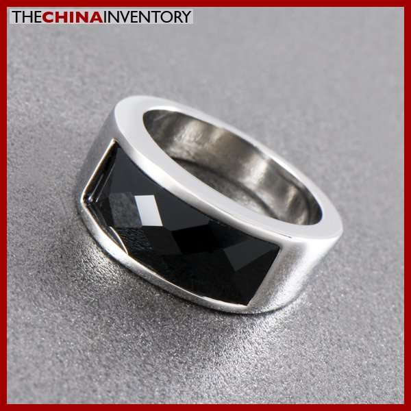 SIZE 6 STAINLESS STEEL FACETED BLACK AGATE RING R1001