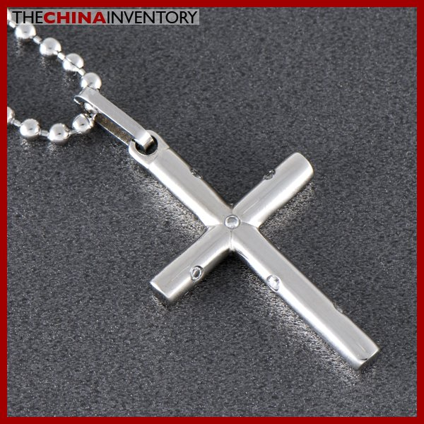 STAINLESS STEEL CROSS PENDANT NECKLACE P0407
