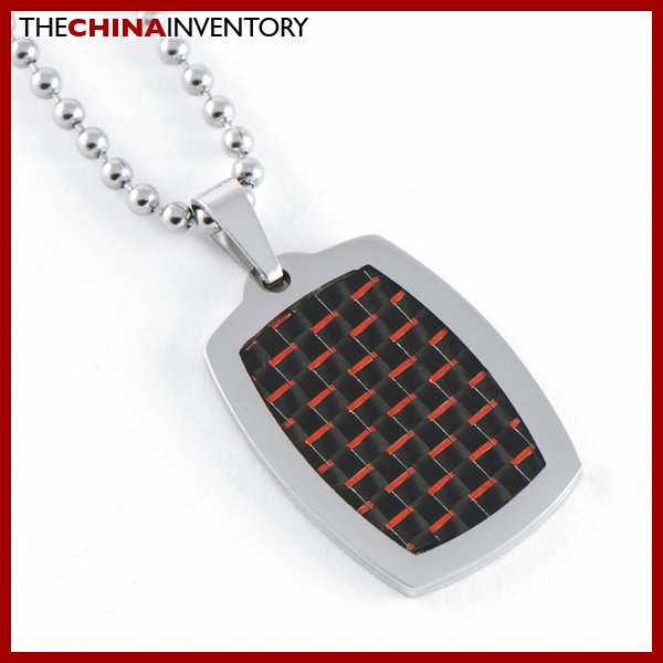 STAINLESS STEEL RED CARBON FIBER TAG PENDANT P0727B