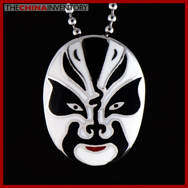 CHINESE OPERA PAINTED STAINLESS STEEL FACE MASK PENDANT