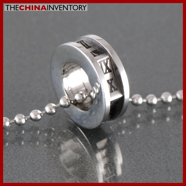 STAINLESS STEEL ROMAN ROUND THE CLOCK PENDANT P0335