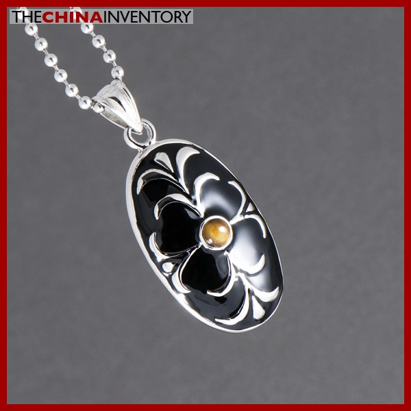 STAINLESS STEEL TIGER'S EYE OVAL TAGE PENDANT P1003