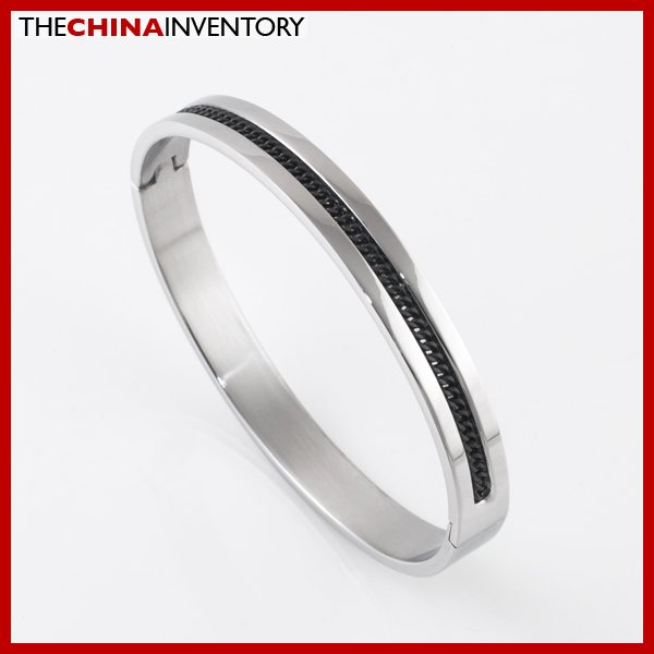 MENS 8MM STAINLESS STEEL BLACK CURB CHAIN BANGLE B2105A