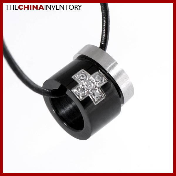 "1/2"""" STAINLESS STEEL CZ RING PENDANT NECKLACE P1103"