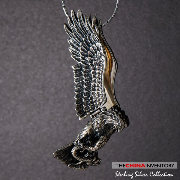 925 STERLING SILVER HAWK EAGLE PENDANT NECKLACE SIL0327