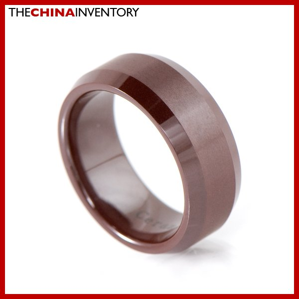 8MM SIZE 4 BROWN CERAMIC WEDDING BAND FLAT RING R2003