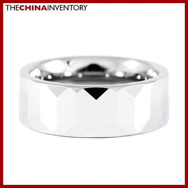 8 MM SIZE 9 FACETED TUNGSTEN CARBIDE BAND RING R0908