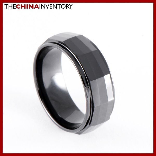 SIZE 9 BLACK CERAMIC FACETED WEDDING BAND RING R0903