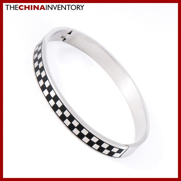 "MEN'S 7"""" STAINLESS STEEL CHECKERS CUFF BANGLE B0815"
