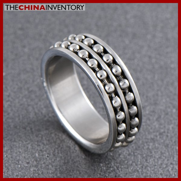 SIZE 7 STAINLESS STEEL SPINNING BEADED CHAIN RING R0701