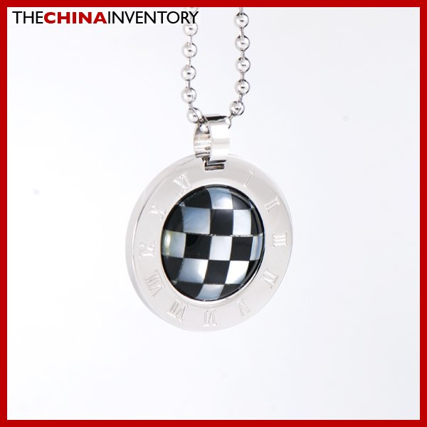 CHECKER BOARD STAINLESS STEEL PENDANT NECKLACE P1701
