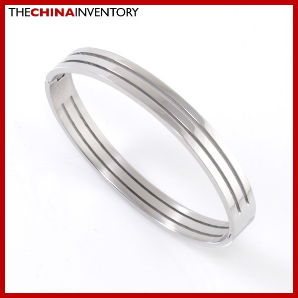 BOYS STAINLESS STEEL DOUBLE GROOVE CUFF BANGLE B2109B