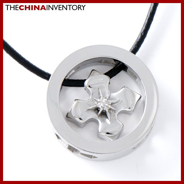 STAINLESS STEEL RING PENDANT NECKLACE WITH CROSS P0710